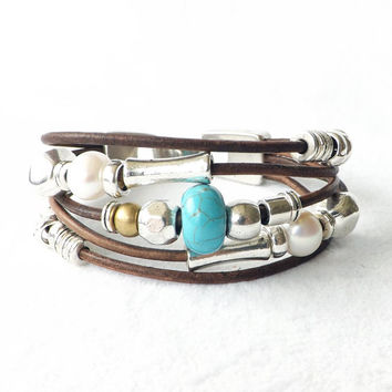 Brown Leather Turquoise Freshwater Pearl Silver Cuff Bracelet Southwest Native American Boho Trending Artisan Stacking Trendy Jewelry Trends