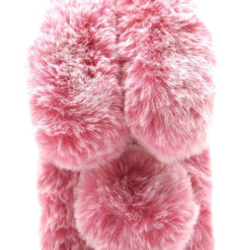 Iphone 7 Plus Case, Iphone 8 Plus Case, Winter Fashion Fuzzy Bunny Charactor 3D Pom Pom Faux Furry Case for Iphone 7 Plus & 8 Plus 5.5inches Soft Hairy Fluffy Cover Case Pink