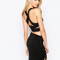 Bardot Cross Back Crop Top