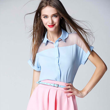 Blue Blouse and Pink Skirt