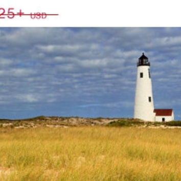 Nantucket Photography Large Wall Art Beach Decor Canvas Gallery Wrap Oversized Print Great Point Lighthouse Blue Yellow Green White Cape Cod