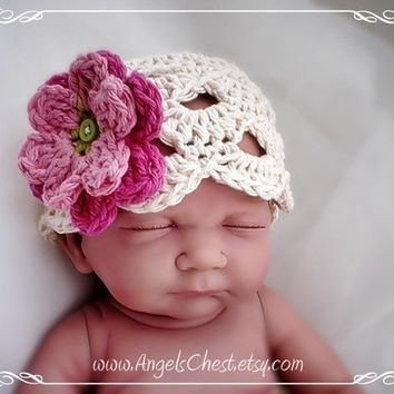 PDF PATTERN Eggshell beanie hat with flowers Newborn to Adult sizes Crochet Photo prop No. 13