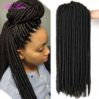 18 inch 24 roots 100g/pack faux locs crochet black dreadlocks hair Synthetic Crochet Braid hair Havana Mambo Faux Locs Weaving