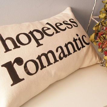 hopeless romantic Hand Stamped Lumbar Pillow Cover by JoshuaByOak