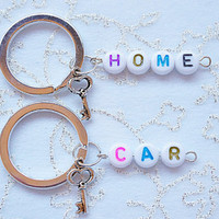 key chain accessory- Two Lovely Keychain , Key Car, Key Home , Great Gift, Friends, Sister, Brother, Mom, Dad