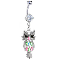 Marquis GEM OWL Dangle Belly Ring | Body Candy Body Jewelry