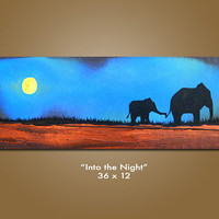 Into the Night - HUGE 36 x 12, Heavy Textured Acrylic Art PAINTING on canvas, Contemporary Earthy Elephant Art, Kids Nursery