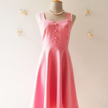 Tulip Pink Party Dress Pink Bridesmaid Dress Pink Dress Cocktail Homecoming Swing Skirt  Modest Dress / XS-XL, Custom