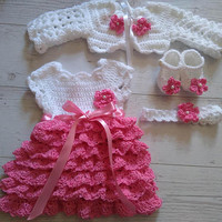 Baby dress in white and fuchsia , matching bolero, shoes, headband , newborn girl frock,  crochet infant clothes