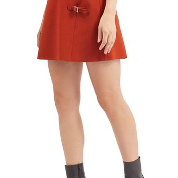 Petite Women's Topshop Raw Edge Buckle Miniskirt,