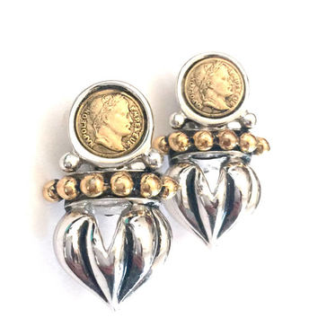 Napoleon Empereur Faux Coin Earrings, Heavy Silver Ribbed Acorn, Small Gold Tone Faux Coins, Gold Ball Accents, Vintage Clip-on Earrings