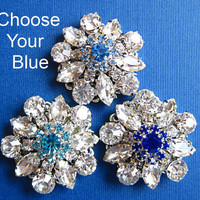 Wedding shoe clips, Choose your Blue, Royal, Aqua, Topaz Blue, Something Blue Bridal  Accessories