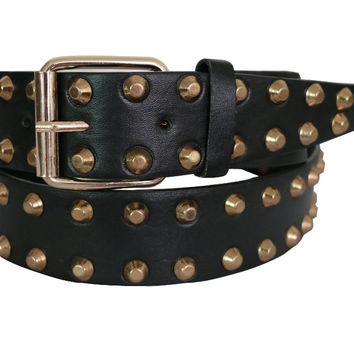 Free Shipping 2016 Europe Fashion Female Black Wide Studded Leather Gold Metal Rivet Belt For Women Ladies Free Shipping