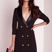 Missguided - long sleeve tuxedo dress black