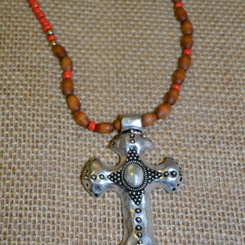 Cross Necklace Set w/Orange and Brown Beads