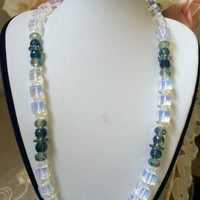 Unique Christmas Gift for Her Wife Mother Daughter Grandma Friend Birthday Gift One of a kind Moonstone Swarovski AB crystals Blue-Green
