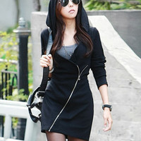 Black Wrap V-Neck Diagonal Zipped Long Sleeve Hooded Mini Dress
