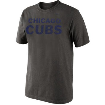 Nike Chicago Cubs Wordmark Logo Tri-Blend T-Shirt - Charcoal