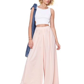 Pleated Mid Waist Wide Leg Pants