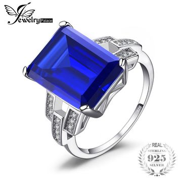 Emerald Cut 9.6ct Created Blue Sapphire Cocktail Ring 925 Sterling Silver Ring