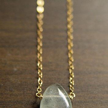 Oval Aquamarine Gold Necklace