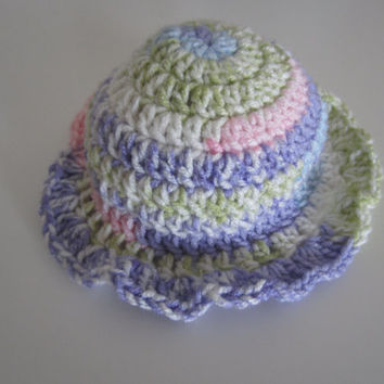 Handmade crochet summertime multi color sunhat for newborn, infant, toddler.  Custom colors available.