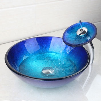 Bathroom Sink SetTempered Glass Vessel Sink W/ Waterfall Faucet Set W/ The Pop Up Drain Faucet Set