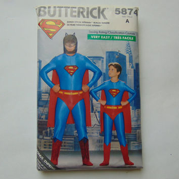 Butterick 5874 Sewing Pattern Superman Men's Teens Costumes XS to L 30 to 44