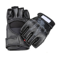 Cool Gifts Pair of Boxing Fight Gloves Sparring Grappling UFC Mitts MMA Sanda Black = 1929945412