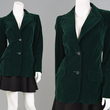 Vintage 70s Jacket Green Velvet Blazer Womens Blazer Office Wear Mod Jacket Fitted Blazer Sports Coat Bottle Green 1970s Glam Riding Coat