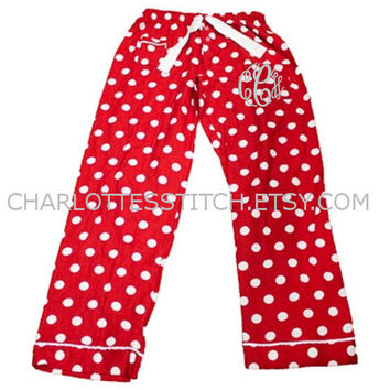 Monogrammed Pajama Pants - Red Polka Dots