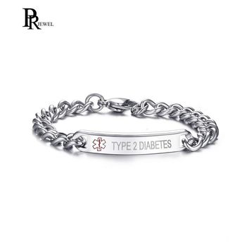 TYPE 1 2 DIABETES Bracelet Stainless Steel Link Chain Medical Alert ID Bracelet for Women Customize Gift