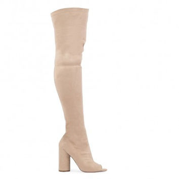 JANA OVER THE KNEE PEEPTOE BOOTS IN NUDE FAUX SUEDE
