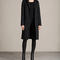ALLSAINTS US: Womens Nehru Luna Coat (Black)