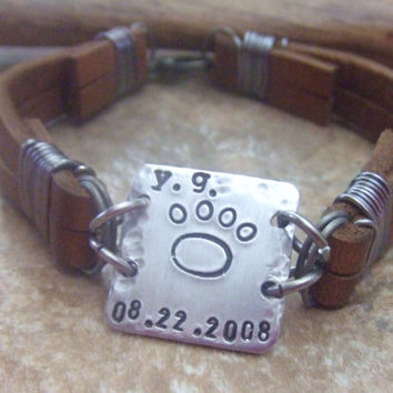 Personalized Leather Bracelet - Handstamped Metal and Leather Bracelet  for Fathers Men Dads - Pet Memorial