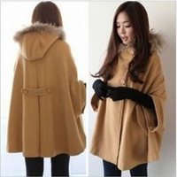 1239 camel with a hood cloak fashion double breasted cape wool coat outerwear = 1920505476