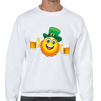 Irish smiling Emoji ST patricks men sweatshirt