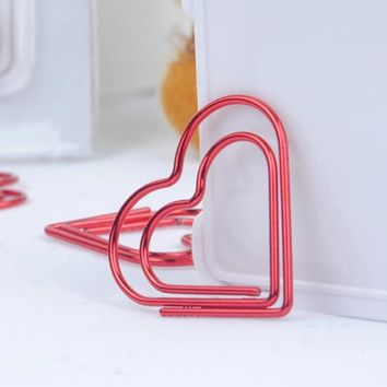 5PCS LOT Plated Paper Clips Pin Metal Clip Bookmarks Office School Accessories Cute Roman Heart Shape Marking Clips