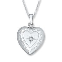 Heart Locket Necklace Diamond Accent 14K White Gold