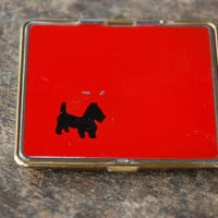 Vintage Powder Compact Black Scottie Dog Red Enamel Mirror Loose Powder Pinup Retro 1940's // Vintage Makeup Accessory