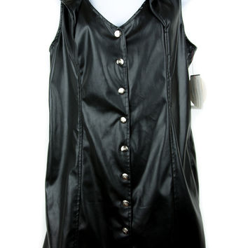 Vintage Tripp NYC Black Vinyl Mini Dress Snap-Buttons PVC Hot Topic XL