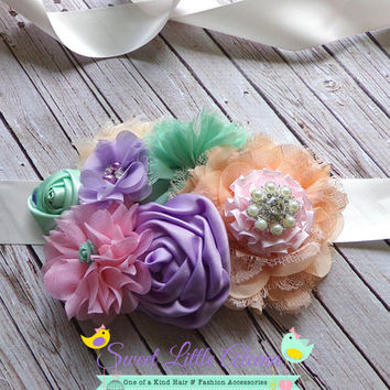 Newborn Baby Girl Prop - Maternity Sash - Flower Girl Sash - Vintage Flower Sash - It's A Girl - Toddler Sash Belt  - Peach Mint Purple Pink