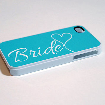 Tiffany Blue and White Bride Monogram with Heart iPhone 4 or 4s Slim Plastic Case - unique iphone cases, aqua, turquoise, wedding, for her