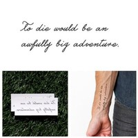 Peter Pan Quote Temporary Tattoo (Set of 2)