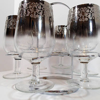 Mid Century Vitreon Queen Silver Fade Lusterware Raised Design Wine Glasses in caddy. Vintage barware Dorothy Thorpe style