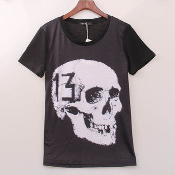 Rock Band T Shirt Women Human Skull Printed Printing T-shirt Women Summer Hot Sale