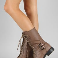 Pack-78 Buckle Military Lace Up Boot