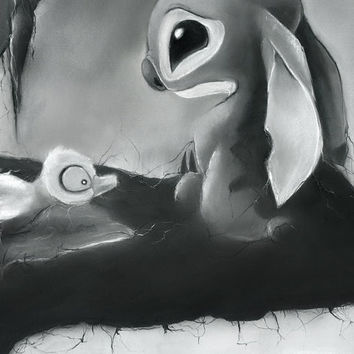 "Illustration ""Lonely Stitch"" black & white pastel giclée fine art print"