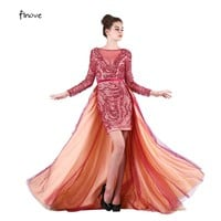 Evening Dresses 2017 Elegant with Long Sleeve  Beading Scoop-Neck  Sashes Tulle Ball Gown Prom Dresses Fast Shipping