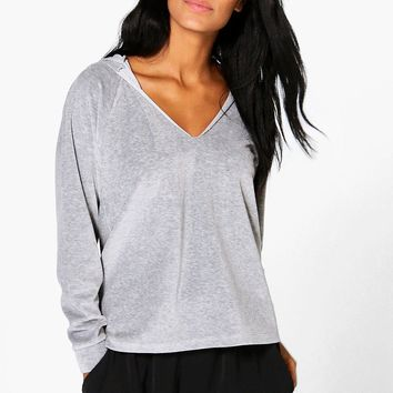 Bella Velour V Neck Hoody | Boohoo